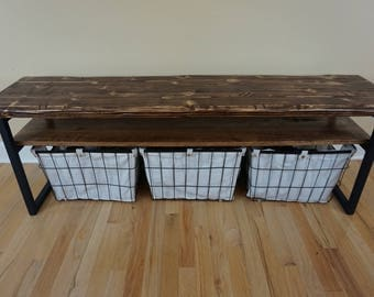 Rustic Entryway Bench With Shelf