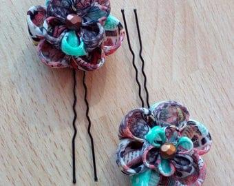 Set of 2 pins tsumami kanzashi
