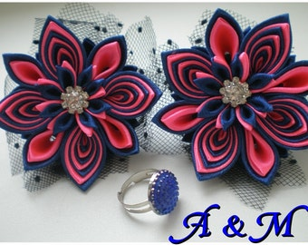 Fabric flowers Kanzashi flowers Gift for her Birthday gift