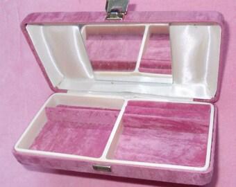 Vintage Pink Velvet Jewellery Box with Mirror