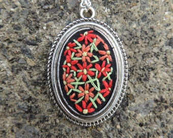 Hand embroidered floral cameo necklace