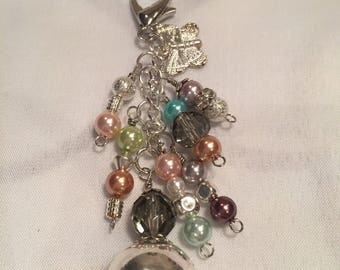 Colourful silver tone purse charm or keychain
