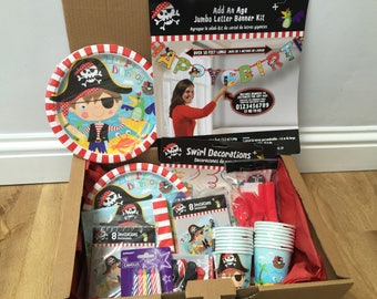 Little Pirate Party Tableware and Decorations Box - 8 Guests