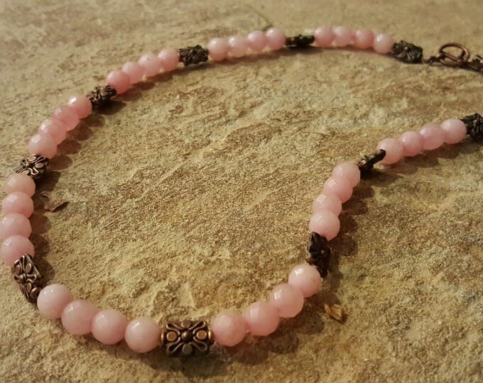 Pink Morganite Necklace with copper spacers beads, Natural pink morganite gemstones. Copper toggle clasp.