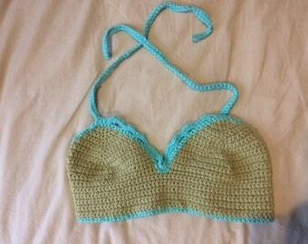 Green crocheted bralette
