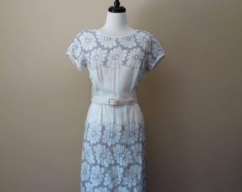 Vintage 1960s white cotton dress with floral cut-out detail