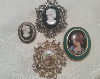 Vintage Lot of Four Brooches Cameo, Limogue and Portrait Style