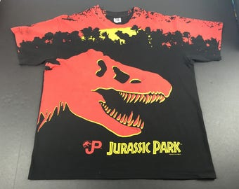 Vintage 1993 Jurassic Park all over print t-shirt mens xl
