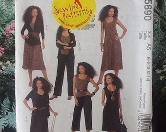M5890 McCalls sewing pattern for ladies separates, dress, pants, trousers, cropped pants, jacket and sleeveless top