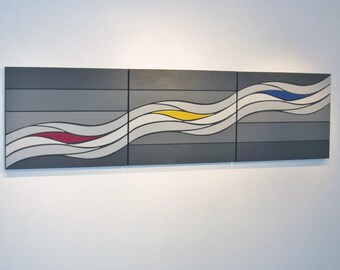 Waves of Grey 3 - original contemporary mixed media painting of wood and acrylic.  Grey, red, yellow and blue.