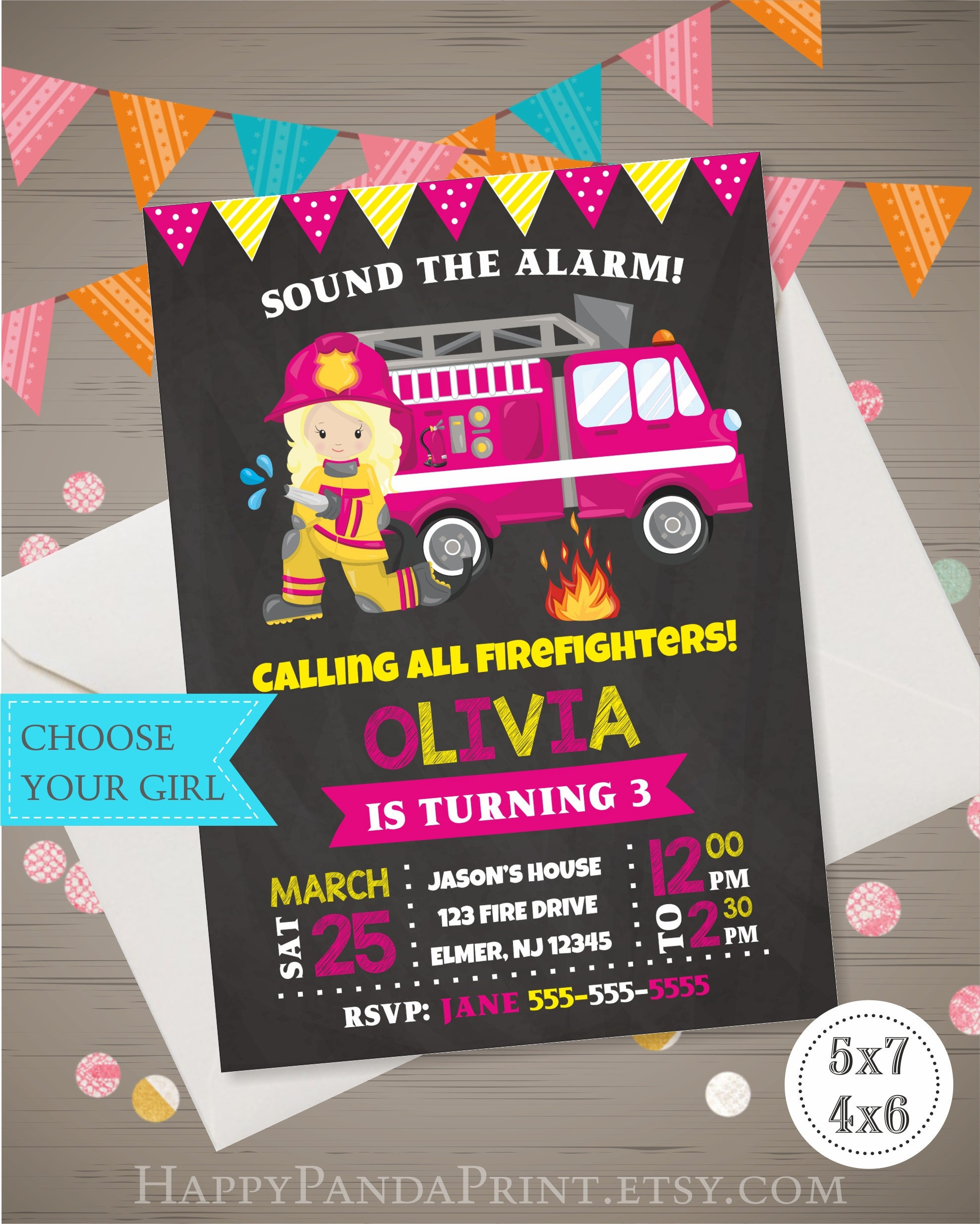 Girls Firefighter Invitation Fireman Birthday Invitation Firewoman ...