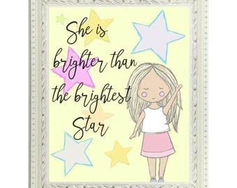 Bright Star Girls Room Nursery Printable Art//Gift