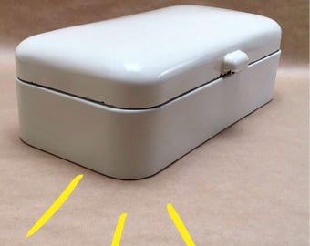 Large White Enamel Bread Box - Bread Canister - Art Deco - Vintage Holland