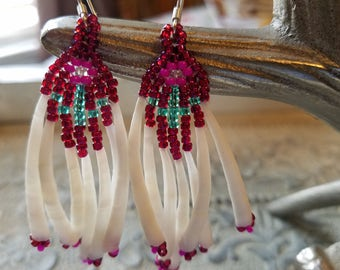 Authentic Native American Waterfall Raspberry And Magenta Native American Flower Earrings