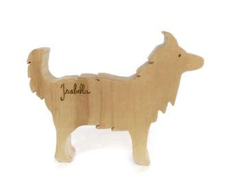 Personalised wooden toy - border collie dog figure - eco friendly and natural waldorf animal - gift for kids