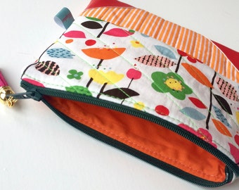 Quilted Purse, Pouch Purse, Zipper Pouch, Patchwork, Stripes, Flowers, Cosmetic Bag