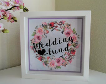 Engagement Gift / Wedding Present. Drop Box Picture Frame Wall Decor. Money Box For Honeymoon, Wedding Flowers, Hen Party.