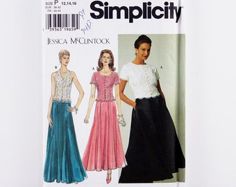 Vintage Simplicity Pattern 7436, Misses' Dress, Formal Separates, Lined Top, Gored Skirt, Sizes 12-16 Bridal Patterns, Mother of the Bride