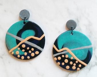 Blue and Orange Art Clay Earrings