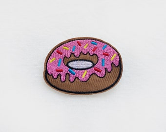 1x brown pink DONUT PATCH  Iron On Embroidered Applique sweet yummy simpson blue yellow sparkles custom diy fun project
