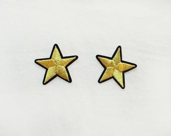 2x gold stars military pinup Rockabilly fashion custom Iron On Embroidered Patch Applique Star rock tattoo