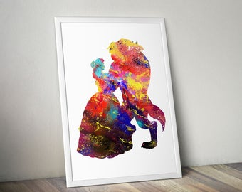 Beauty and the Beast Love Quote Belle Disney Princess Watercolor Nursery Wedding Gift idea Girls Wall Art Home Decor Wall Hanging