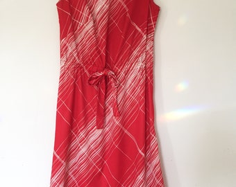 70s red sleeveless sundress