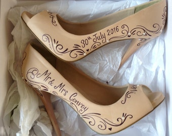 Hand Painted Bridal Shoes, Wedding Shoes