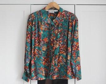 Vintage Shirt Blouse Silk Elegant Colorful Pattern White Dark Blue Retro Oldschool Top Collar Oversize WOmen Girls / Large size