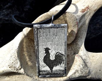 Vintage Cut Out Rooster and Sun Glass Pendant Necklace