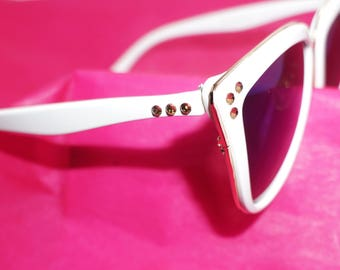 White Cat Eye Sunglasses with Gold Crystal Detail