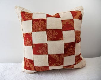46 x 46 cm White Square Red checkers,