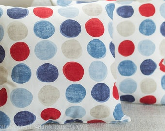 "Blue and red painted circles cushion cover. 17"" x 17"", 100% cotton printed design."