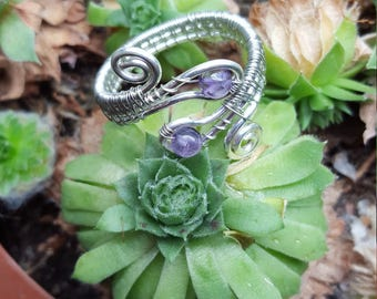 amethyst wire weave ring size 10.5