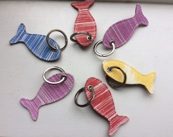IKAT fabric and leather Key rings