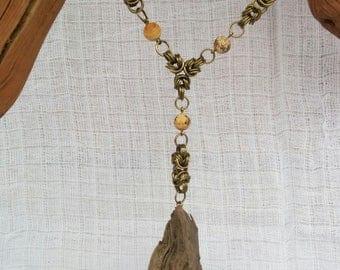 Chainmaille Collier Byzantine Versteinertes Holz Treibholz