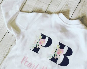 Personalsied baby monogram babygrow