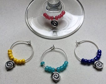Multi-colored Swirl Wine Charms