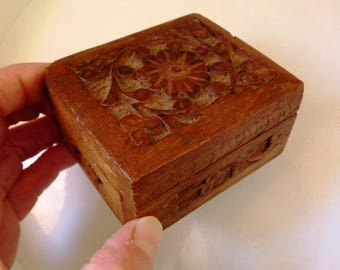 Carved Wooden Trinket Box with Hinged Lid