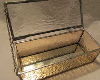 Stained glass trinket/jewelry box in clear peach ripple glass