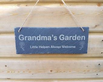 Grandmas, gran, nana, grandad, pops, garden slate hagnging sign, birthday, Father's Day