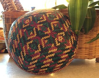 Colorful Vintage Woven Basket