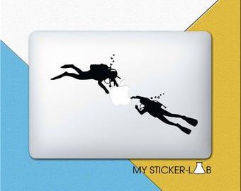 Scuba Diver MacBook Decal Diving MacBook Sticker Scuba Diver Sticker Snorkeling Decal Underwater Sticker Swimming Apple Logo Sticker m187