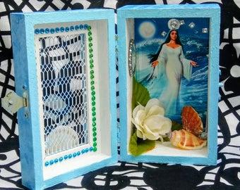 Yemaya Altar Box, Shrine, Shadow Box, Hoodoo, Santeria, Voodoo, Pagan, Yorùbá Orisha