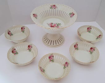 Formalities by Baum Brothers Rose Pierced China Bowl 6 Piece Set