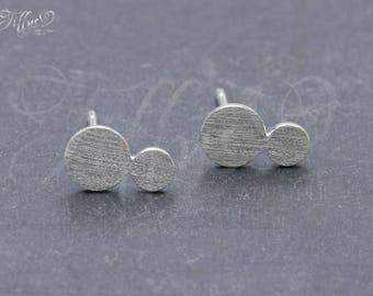 Earrings 925 sterling silver coin double * double coin * stud earrings