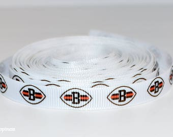 """Cleveland Browns 3/8"""" Grosgrain Ribbon S3A By the Yard"""