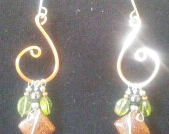 Jewelry, earrings, Hand made, wire wrapped, copper, goldstone, peridot, gift