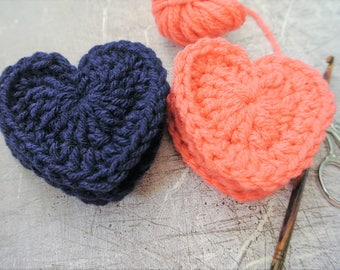 Crochet Heart Appliques Coral and Navy Blue Medium Set of 6