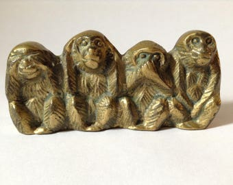 Brass Wise Monkeys, See No Evil, Hear No Evil, Speak No Evil, Do No Evil